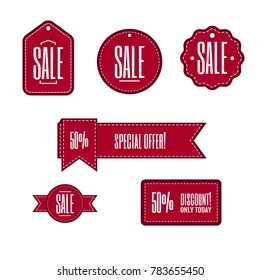 Nice simple vector red labels and banners with sale text for promotion. Replace text and your own design