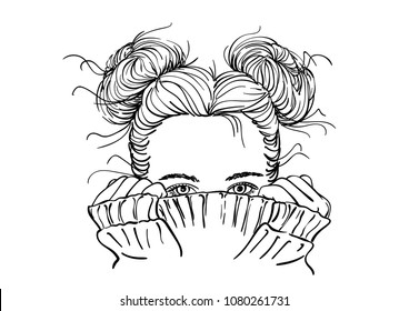 Nice sketch of teenage girl with two buns hairstyle hiding her face in warm knitted sweater, only her beautiful eyes be seen, Hand drawn vector illustration on white background