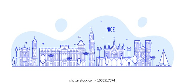 Nice skyline, France. This illustration represents the city with its most notable buildings. Vector is fully editable, every object is holistic and movable