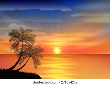 nice sunset .vector