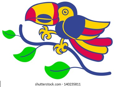 A nice toucan smiling and walking on a tree branch.