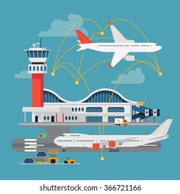 Nice vector concept layout on airport in trendy flat design. Travel by airways. Airport terminal with control tower, airplanes, runway and more
