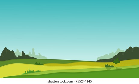 Nice vector field and forest landscape in flat style. Illustration for tourism, travel or nature products advertisement, background with place for your text