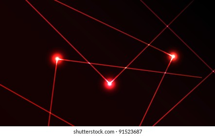 Nice vector laser light in red color and dark background. Beam.