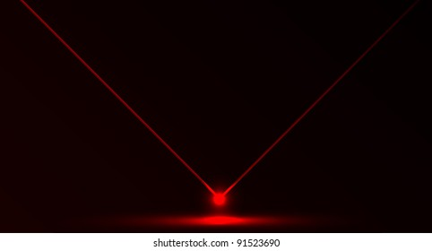 Nice vector laser light in red color and dark background. Beam and ray.