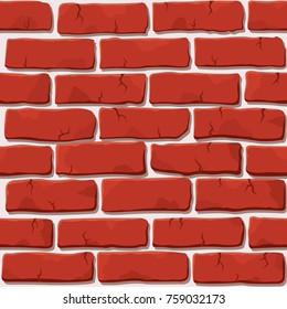 Nice vector red brick wall seamless square pattern