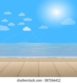 Nice  view of the sea and wooden floor. Vector illustration design