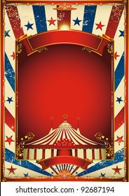 Nice vintage circus background with big top. A retro circus poster for your advertising.