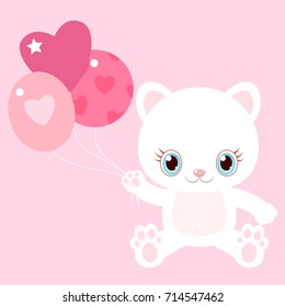Nice white cat with balloons.. Little kitty. Children's character. Valentine's Day.