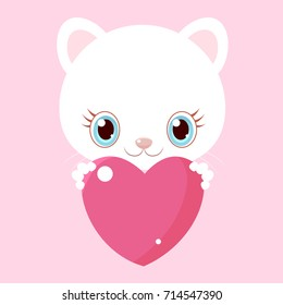 Nice white cat with big heart. Little kitty. Children's character. Valentine's Day.