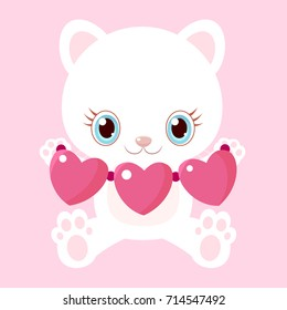 Nice white cat with garlands of hearts. Little kitty. Children's character. Valentine's Day.
