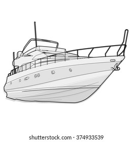 Nice wire black and white boat on white, fishing on a ship with outline background for poster illustration for web page - isolated flatten illustration master vector icon