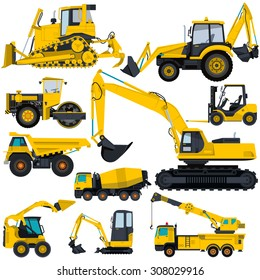 Nice yellow big set of ground works machines vehicles construction and equipment for building truck digger crane fork lift mall bagger mix roller excavator flatten isolated illustration vector