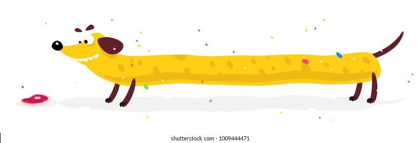 Nice yellow dog, dachshund. Vector illustration of a dog in a flat style. Yellow dog is like cheese. Image is isolated on white background. Hot Dog. Symbol of the company's brand. Mascot. Emblem.