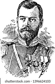 Nicholas II was czar of Russia king of Poland and grand duke of Finland vintage line drawing or engraving illustration.