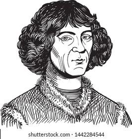 Nicolaus Copernicus portrait in line art illustration. Vector.