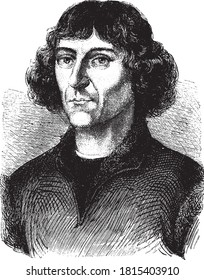 Nicolaus Copernicus, Vintage engraving. From Popular France, 1869.