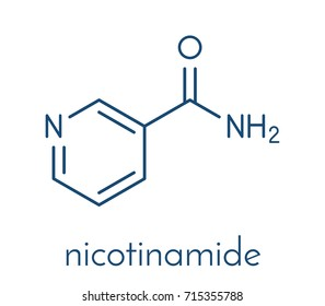 Nicotinamide drug and vitamin molecule. Skeletal formula.