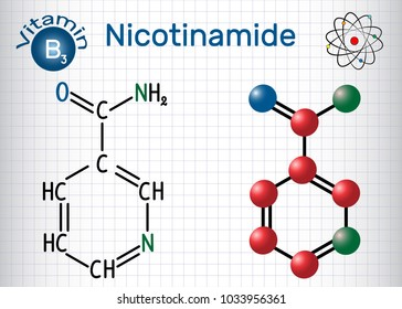 Nicotinamide (NAA) molecule, is  a vitamin B3 found in food, used as a dietary supplement. Structural chemical formula and molecule model. Sheet of paper in a cage. Vector illustration