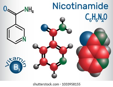 Nicotinamide (NAA) molecule, is  a vitamin B3 found in food, used as a dietary supplement. Structural chemical formula and molecule model. Vector illustration