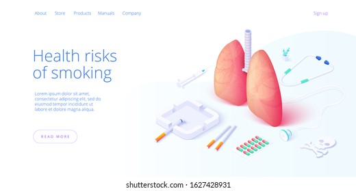 Nicotine dependendce or smoking addiction illustration in isometric vector design. Cigarettes and lungs with ashtray and lighter as concept for tobacco addict or smoker. Web banner layout template.