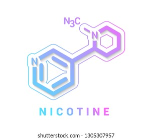 Nicotine tobacco stimulant molecule. Main addictive component in cigarette smoke. Skeletal formula isolated on white background, Vector illustration