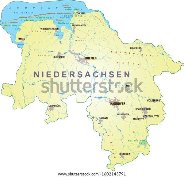 Niedersachsen (Lower Saxony) map Germany