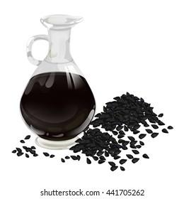 Nigella sativa (Blatsk cumin). Nigella or Black cumin over white background. Black cumin oil