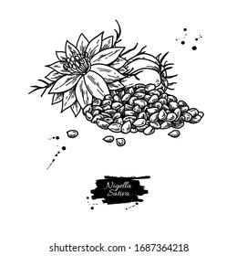 Nigella sativa vector drawing. Black cumin isolated illustration. Hand drawn botanical flowers and seed heap. Vintage engraved oil ingredient. Sketch of medicinal herb.