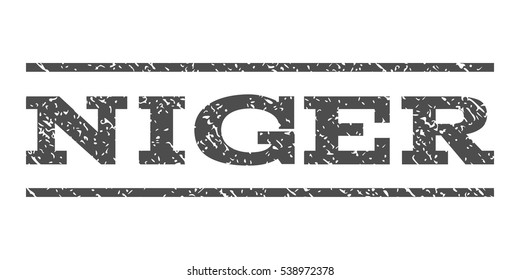 Niger watermark stamp. Text caption between horizontal parallel lines with grunge design style. Rubber seal stamp with dirty texture. Vector gray color ink imprint on a white background.