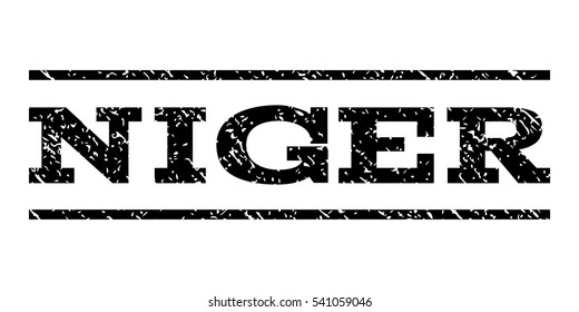 Niger watermark stamp. Text tag between horizontal parallel lines with grunge design style. Rubber seal stamp with unclean texture. Vector black color ink imprint on a white background.