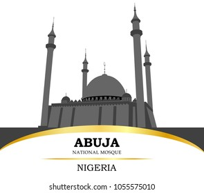 Nigeria. Abuja. National mosque. West Africa. Vector illustration.