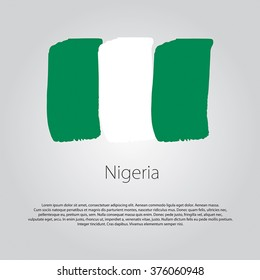 Nigeria Flag with colored hand drawn lines in Vector Format