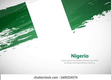 Nigeria flag made in brush stroke background. National day of Nigeria. Creative Nigeria national country flag icon. Abstract painted grunge style brush flag background.