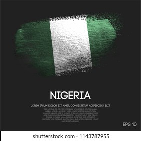 Nigeria Flag Made of Glitter Sparkle Brush Paint Vector