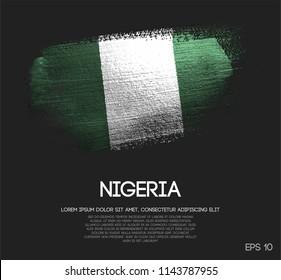 Nigeria Flag Made of Glitter Sparkle Brush Paint Vector