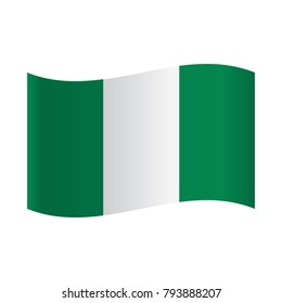 Nigeria flag on a gray background. Vector illustration, National flag of Nigeria representing three vertical stripes: white between green ones.
