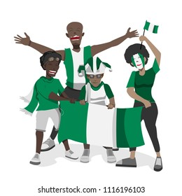 Nigeria football fans. Cheerful soccer fans, supporters crowd and Nigeria flag.