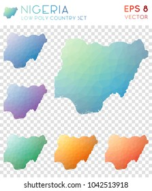 Nigeria geometric polygonal, mosaic style country maps collection. Uncommon low poly style, modern design for infographics or presentation.