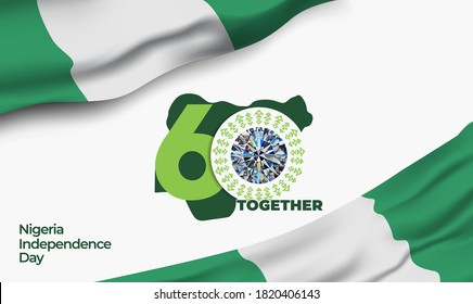 "Nigeria Independence Day. The 60th logo with the Glory diamond. The Logo meaning ""Together shall we be, bring the Nigerian people to be greatness, with warmth, spirit and love"".  Vector illustration."
