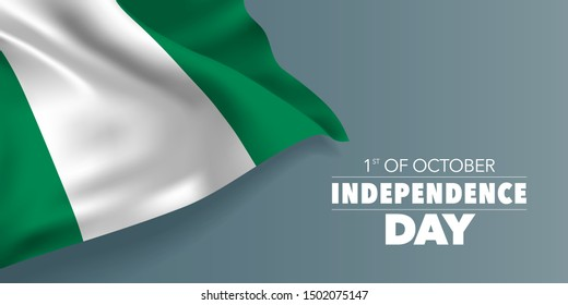 Nigeria independence day greeting card, banner with template text vector illustration. Nigerian memorial holiday 1st of October design element with flag with stripes