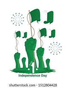 Nigeria Independence Day Greetings With hands holding flags. 1st of October. vector
