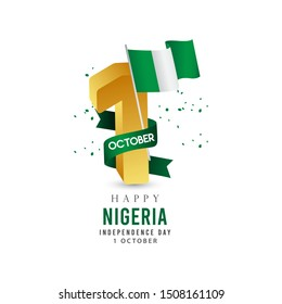 Nigeria independence day modern design template. Design for web banner or print.