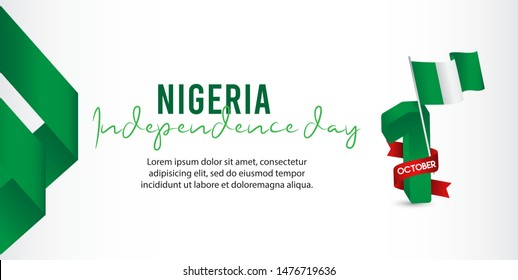 nigeria independence day vector template. Design for banner; greeting cards or print. welcome to nigeria