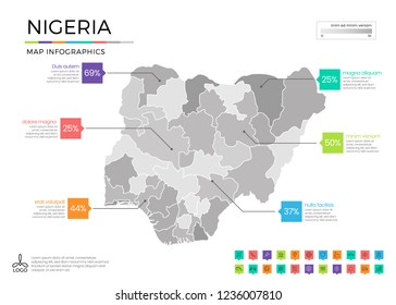 Nigeria map infographics with editable separated layers, zones, elements and district area in vector