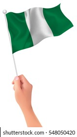 Nigeria national flag hand icon