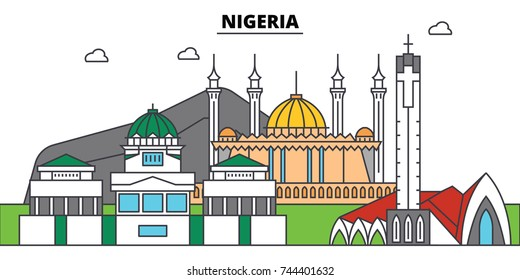 Nigeria outline city skyline, linear illustration, banner, travel landmark, buildings silhouette,vector