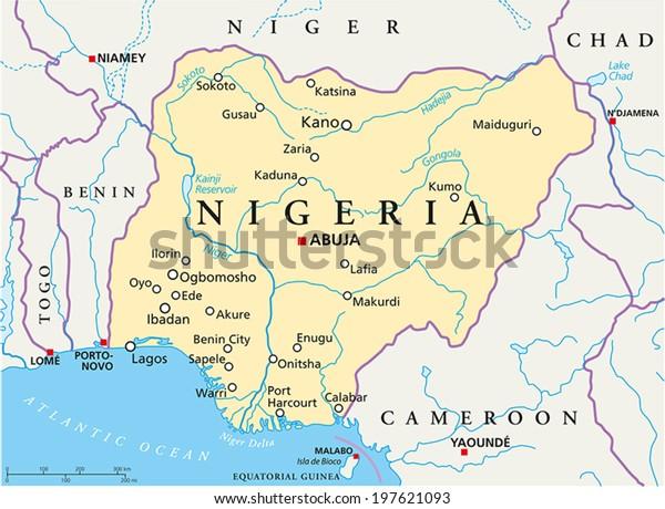 Nigeria Politische Karte mit Hauptstadt Abuja, nationale Grenzen, die wichtigsten Städte, Flüsse und Seen. Vektorgrafik mit englischer Kennzeichnung und Skalierung.
