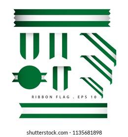Nigeria Ribbon Flag Vector Template Design Illustration