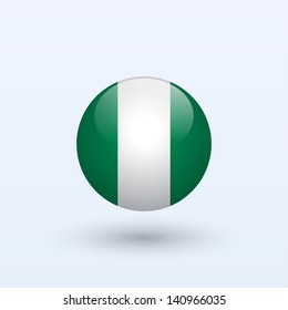 Nigeria round flag. Vector illustration.
